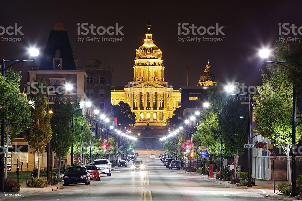 Iowa State Capitol at Night stock photo