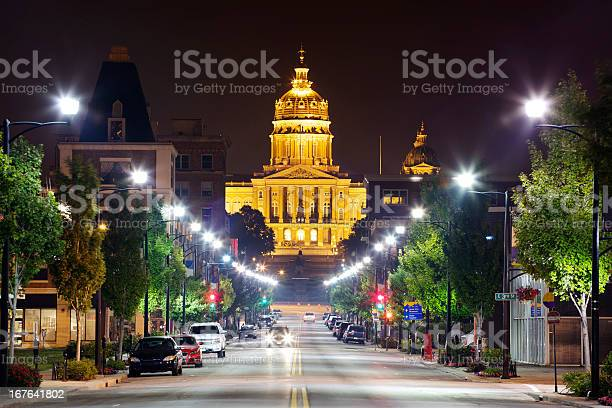 Iowa State Capitol At Night Stock Photo - Download Image Now