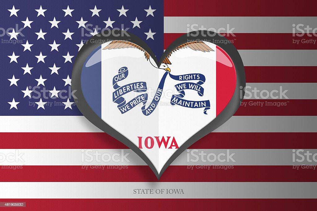 Iowa State Flag Heart Shape on US Flag stock photo