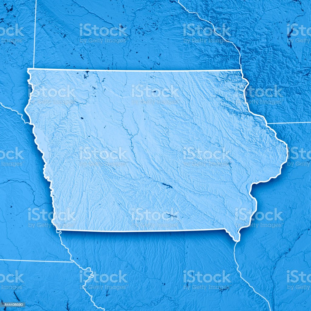 Iowa State USA 3D Render Topographic Map Blue Border stock photo