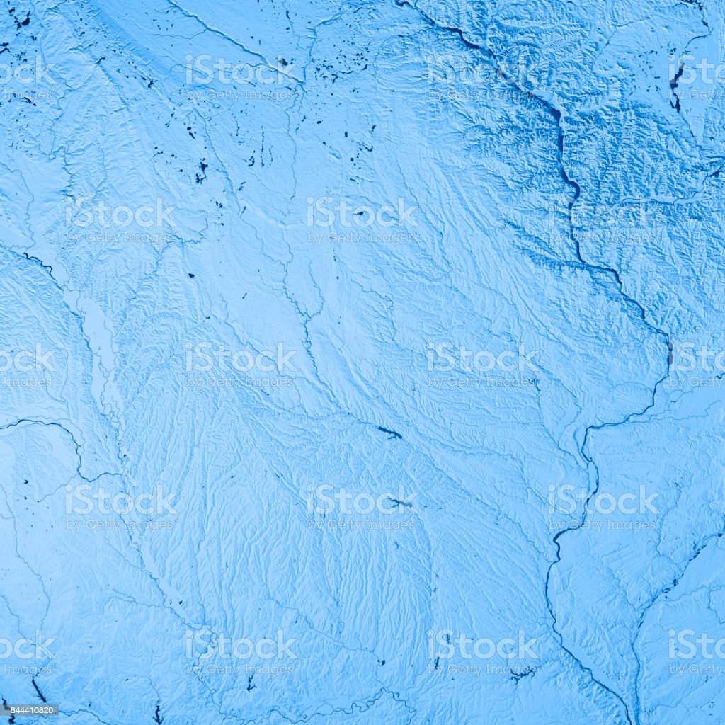 Iowa State USA 3D Render Topographic Map Blue stock photo