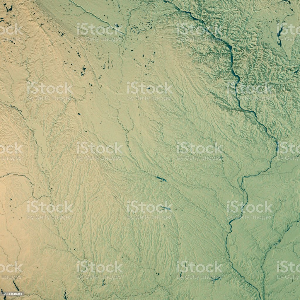 Iowa State USA 3D Render Topographic Map stock photo