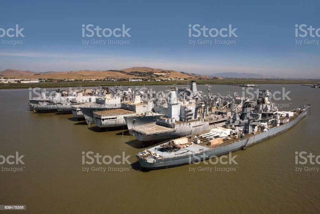 USS Iowa Suisun Bay Mothball Fleet July, 2009 stock photo