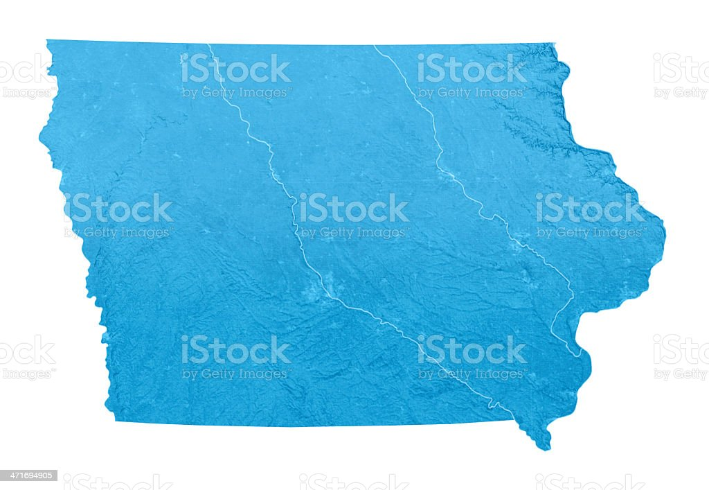 Iowa Topographic Map Isolated Stock Photo More Pictures Of Blue