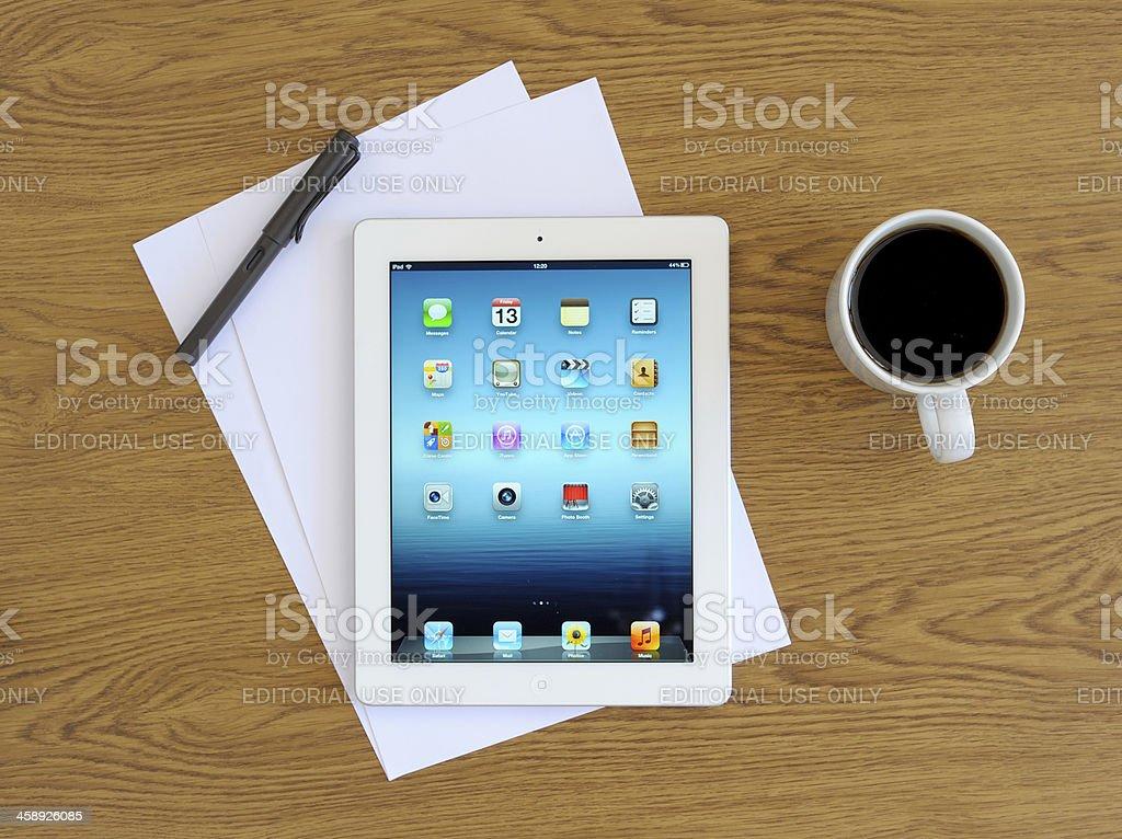 iPad 3 on desk royalty-free stock photo