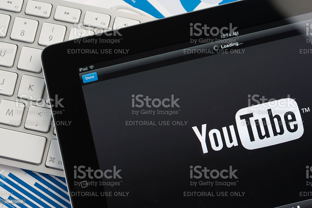 Ipad close-up showing You tube stock photo