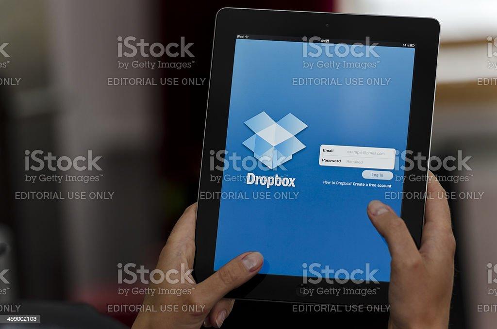 iPad device with Dropbox app stock photo