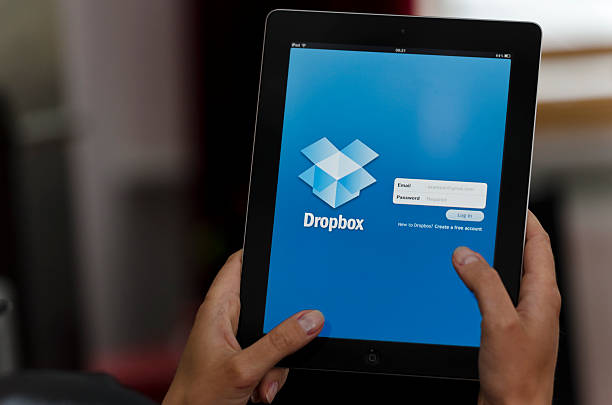 iPad device with Dropbox app stock photo