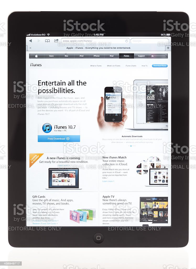 iPad displaying iTunes page royalty-free stock photo