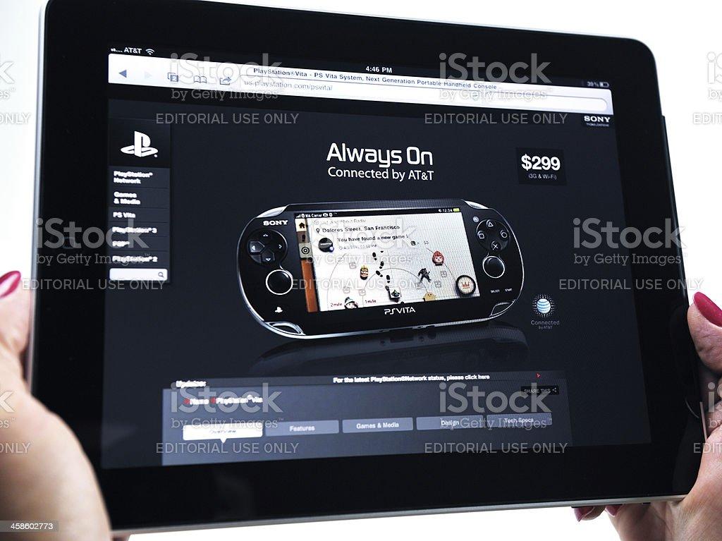 iPad Displaying Sony PSVISTA Video Game royalty-free stock photo