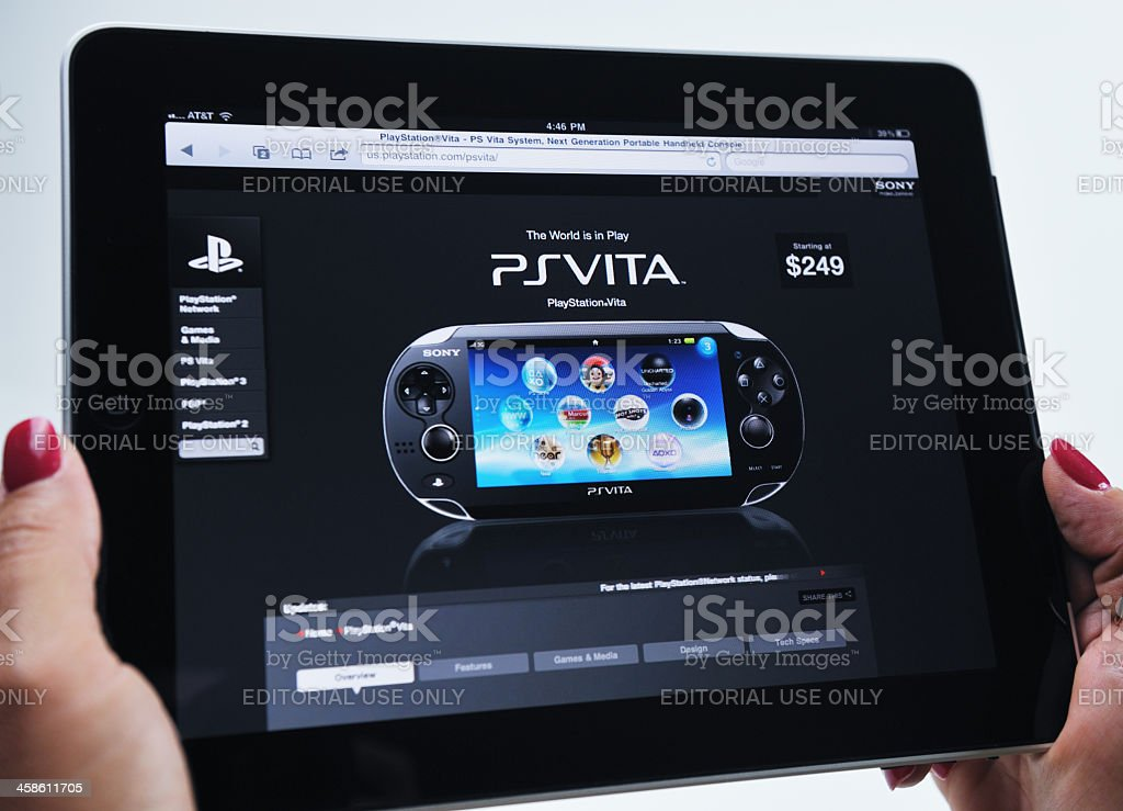 iPad Displaying Sony PSVISTA Video Gaming System royalty-free stock photo