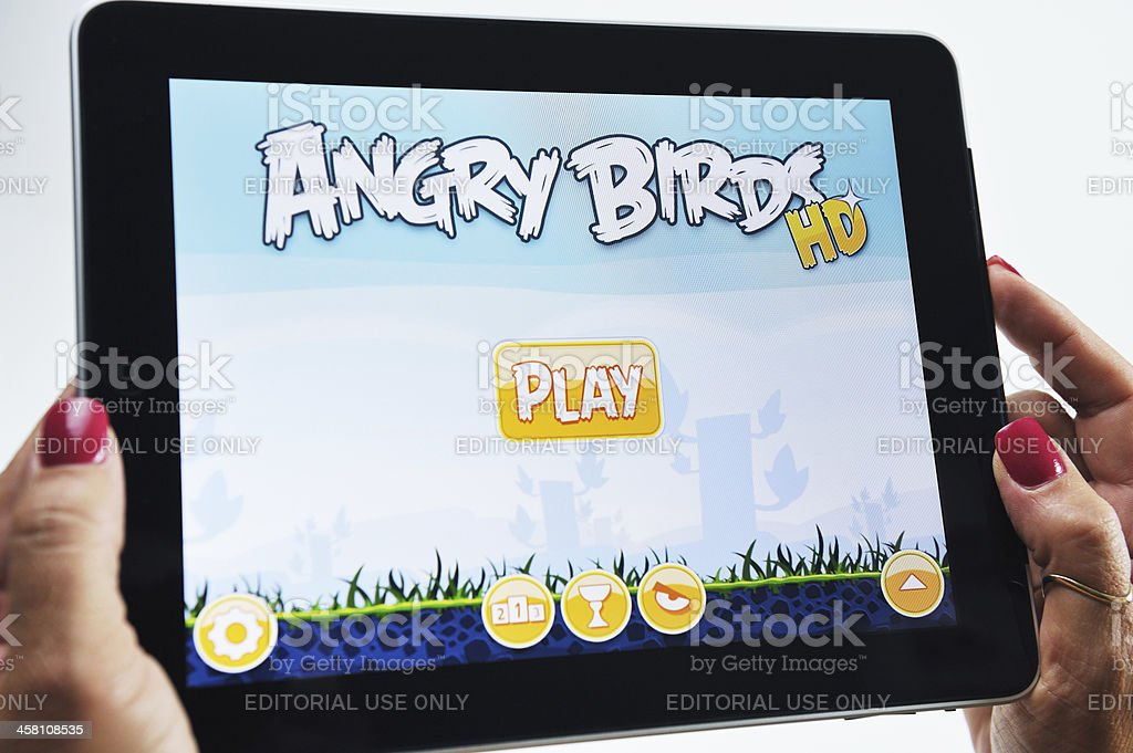iPad Displaying the Angry Birds Video Game royalty-free stock photo