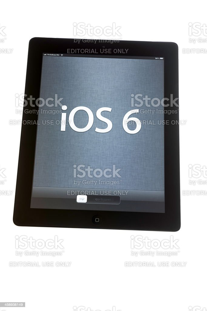 iPad iOS 6 on the screen royalty-free stock photo