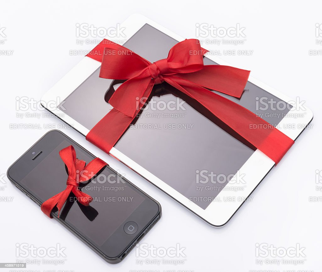Ipad mini and iphone 5 gift for christmas royalty-free stock photo