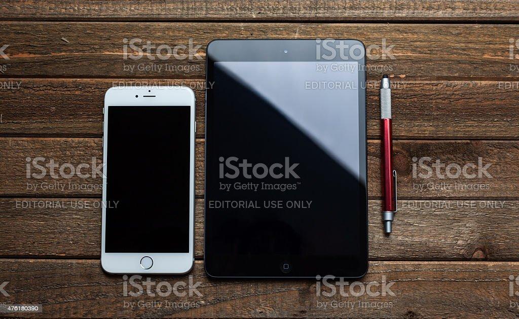 iPad Mini and iPhone 6 Plus stock photo