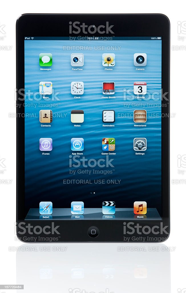 iPad mini Black and Slate (with clipping paths) royalty-free stock photo