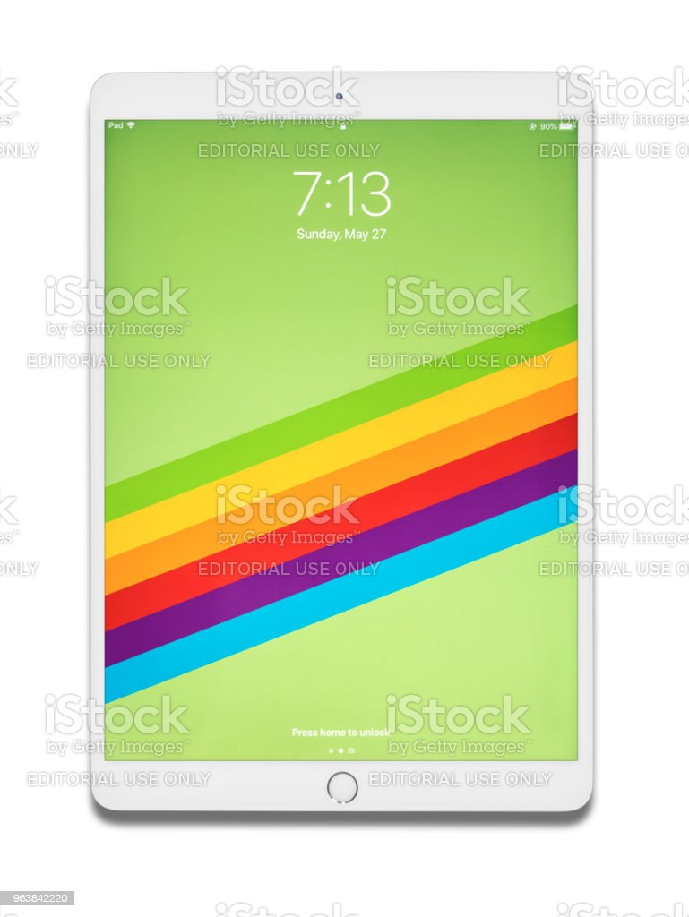 Ipad pro 10.5 inches isolated on white background, studio photo - Royalty-free Advertisement Stock Photo