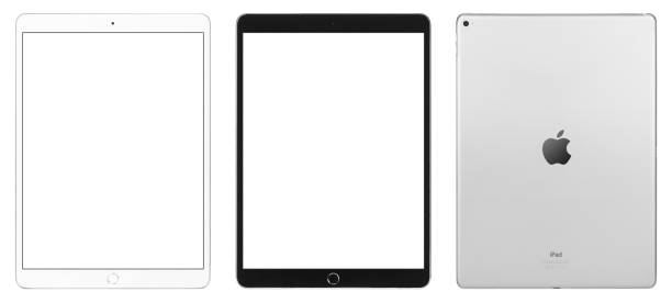 iPad Pro black & white versions, front & rear view. Size: 12.9 inch. stock photo