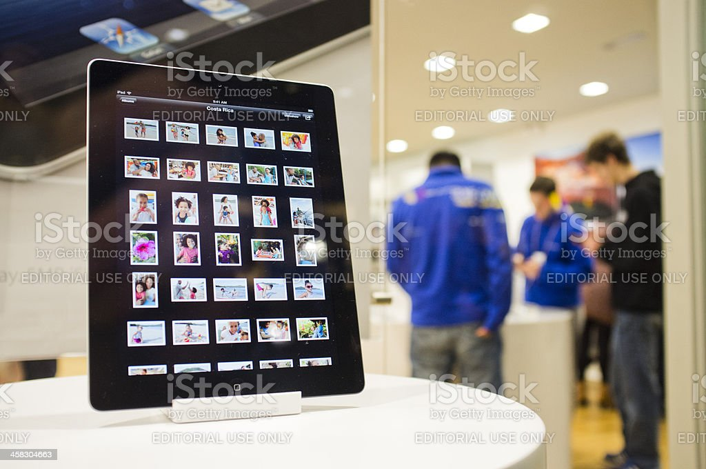 IPad Resolutionary on Display in Apple Store stock photo