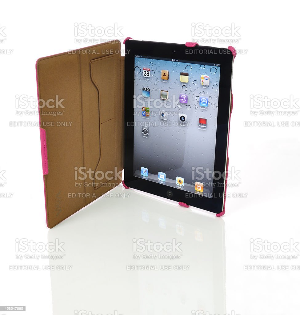 iPad2 in pink case royalty-free stock photo