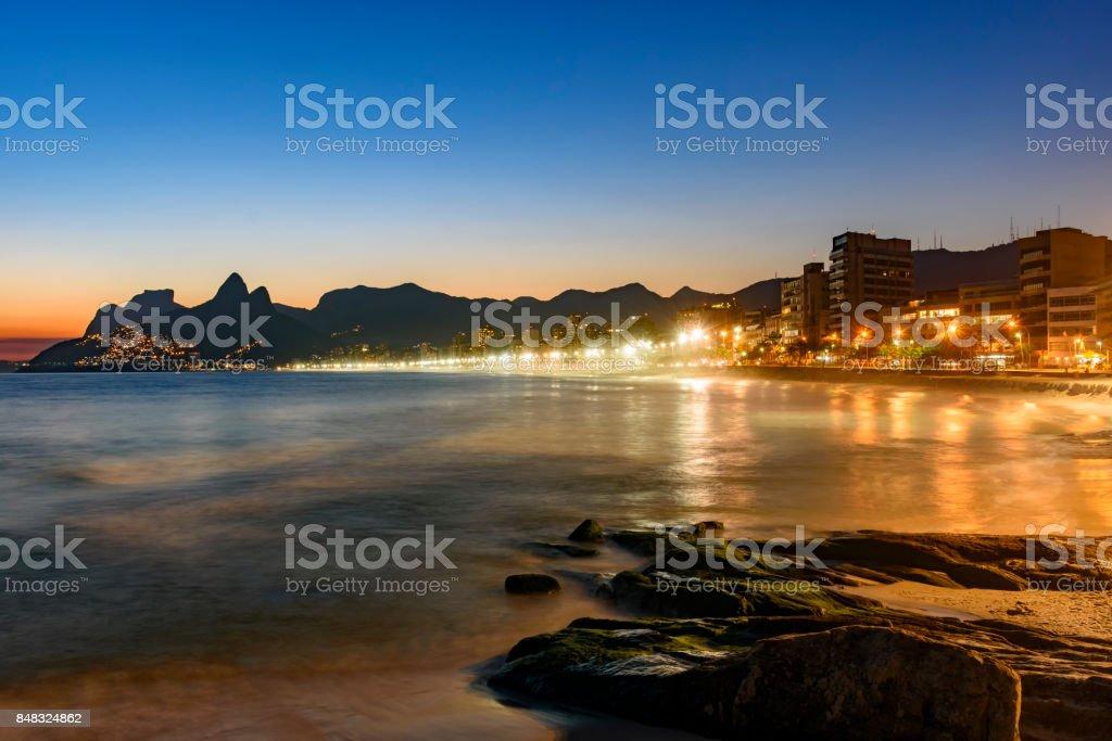 Ipanema beach at dusk stock photo