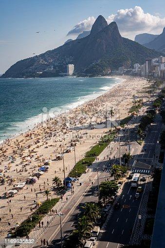 Ipanema beach in Rio de Janeiro Brazil showing the Dois Irmaos mountians