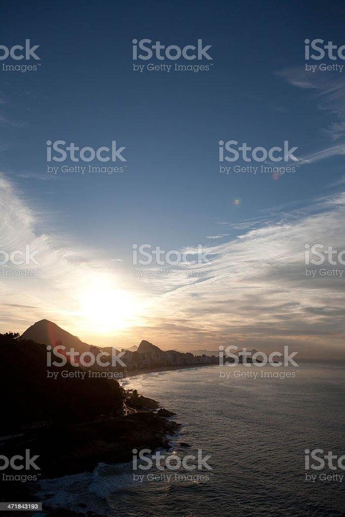 Ipanema Beach, Rio de Janeiro, Sunset stock photo