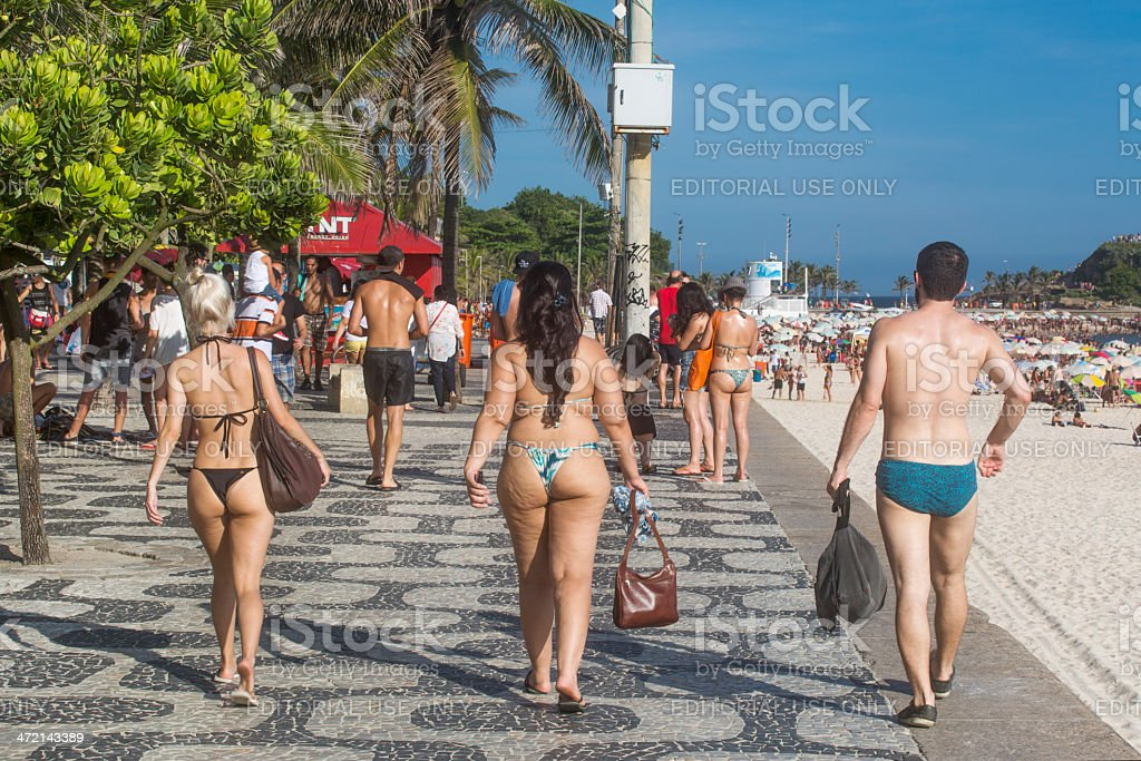 Ipanema Beach sidewalk stock photo