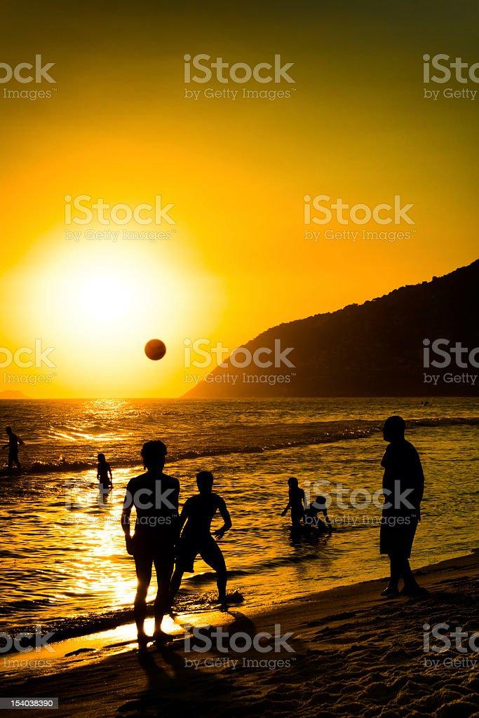 Ipanema Beach sunset soccer royalty-free stock photo