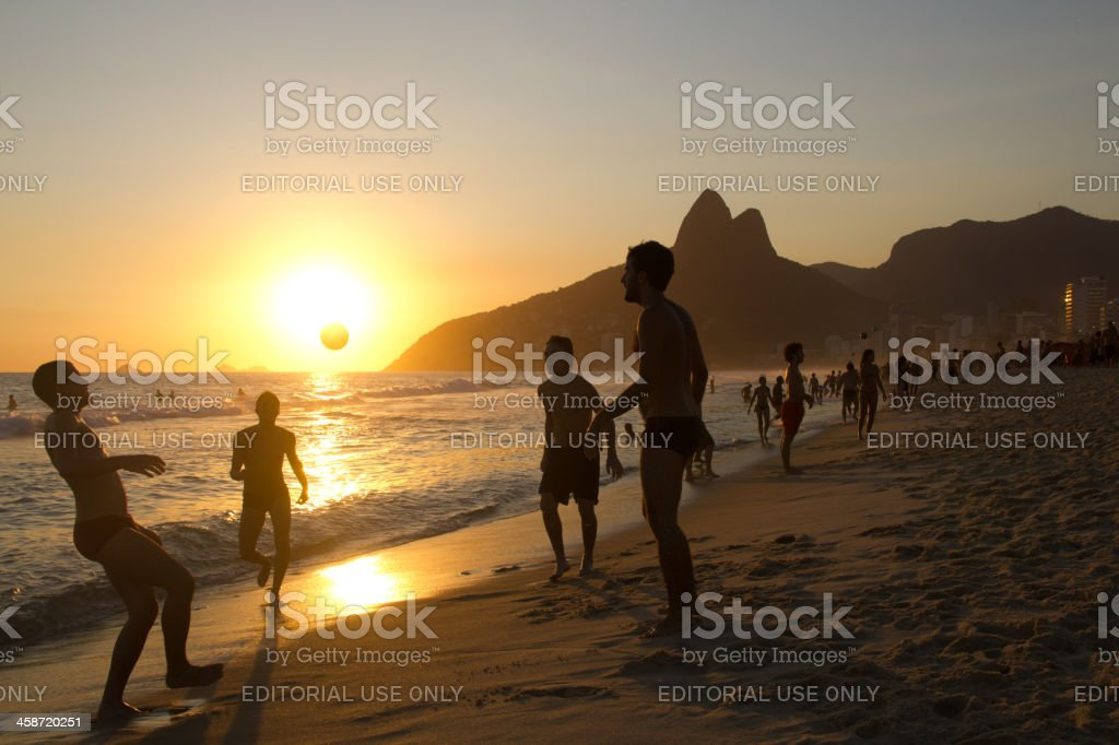 Ipanema Beach sunset soccer royalty-free stock photo
