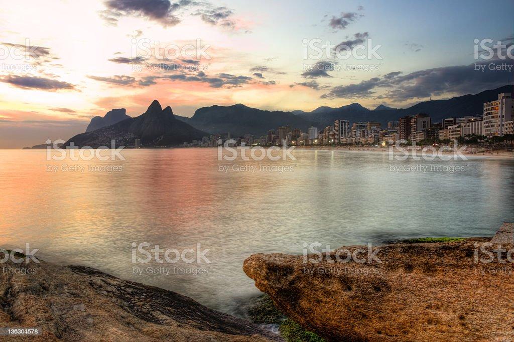 Ipanema sunset stock photo