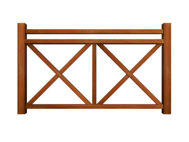 Ipe design wood railing stock photo
