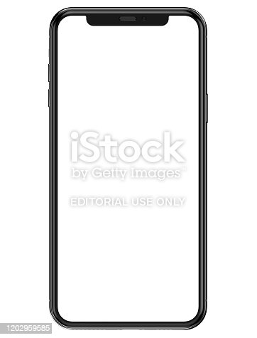 istock iPhone 11 Pro Max in silver color - template front view with blank screen for application presentation 1202959585