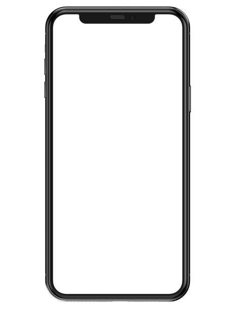 iphone 11 pro max in colore argento - modello vista frontale con schermo vuoto per la presentazione dell'applicazione - smart phone foto e immagini stock