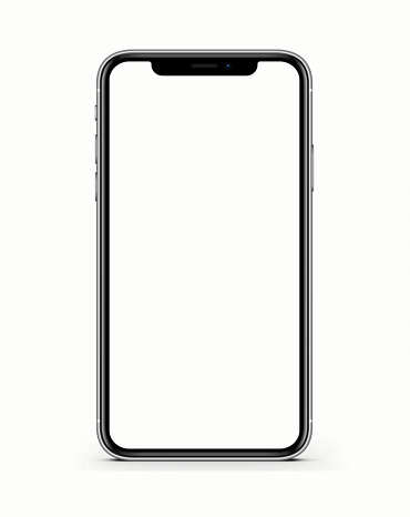 The new Apple iPhone X Silver Color 256GB Model with White Blank Startup Screen isolated on white background.