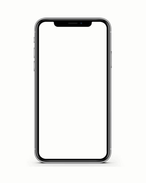 IPhone 11 Pro Max in silver color - template front view with blank screen for application presentation stock photo The new Apple iPhone X Silver Color 256GB Model with White Blank Startup Screen isolated on white background. blank screen stock pictures, royalty-free photos & images