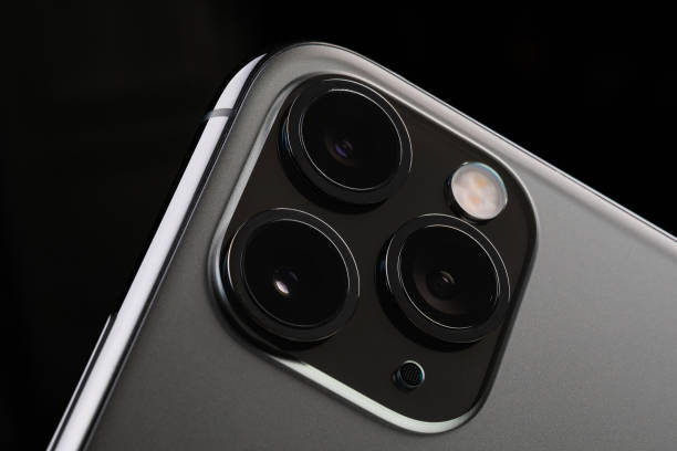 Iphone 11 Pro Max on a dark background stock photo