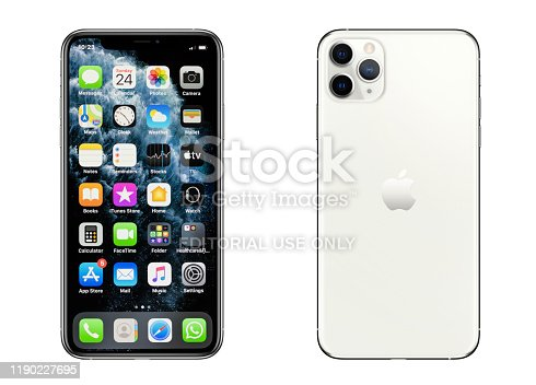 New York, USA- November 24, 2019: iPhone 11 Pro Max Silver smartphone front and rear side on white background. iPhone 11 was released on September 20, 2019.