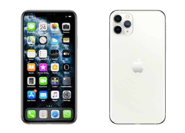 iPhone 11 Pro Max Silver smartphone stock photo