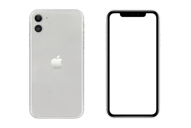 Iphone 11 Silver White Blank Screen and Rear on white background stock photo