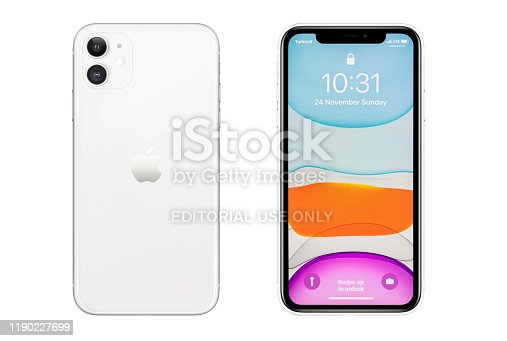 istock iPhone 11 Silver White Blank Screen and Rear on white background 1190227699
