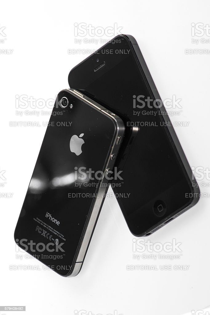 iPhone 4 and iPhone 5 stock photo