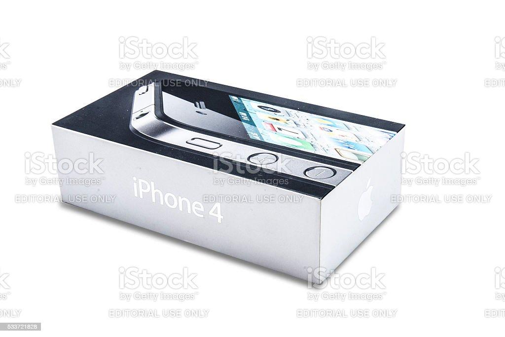 iPhone 4 box isolated on white stock photo