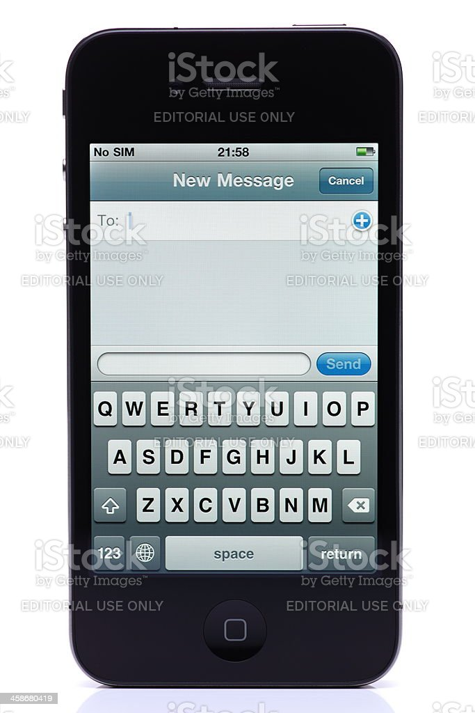 iPhone 4 with New Message royalty-free stock photo