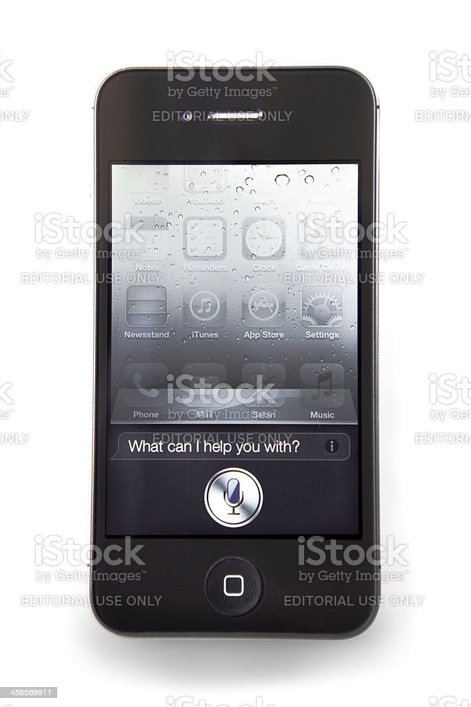 iPhone 4s with Siri app royalty-free stock photo