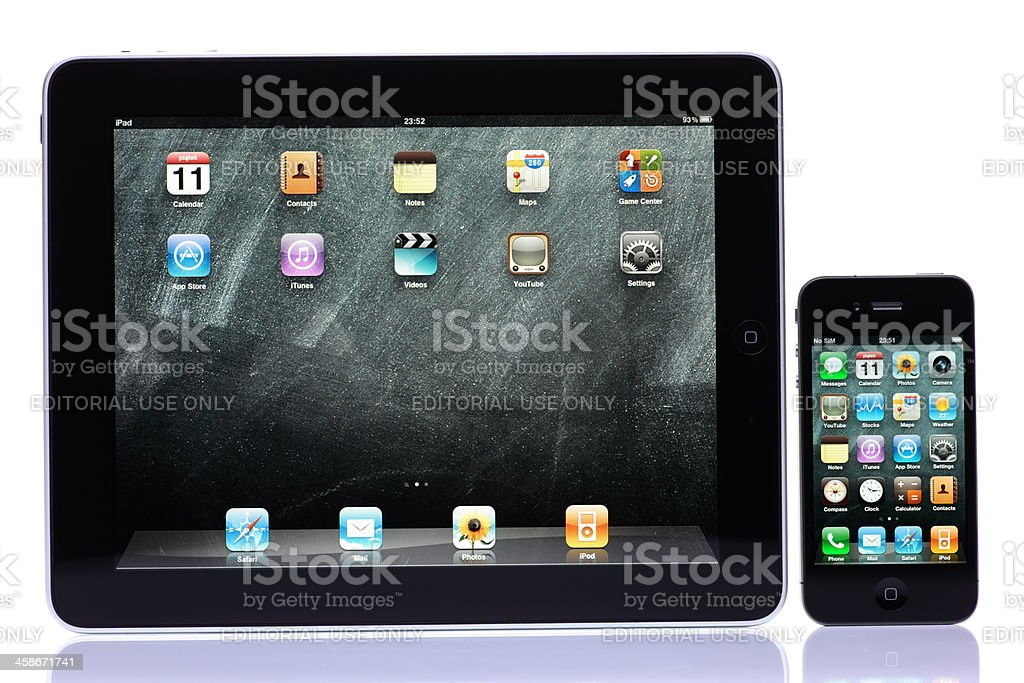iPhone 4th generation and iPad Isolated on White royalty-free stock photo