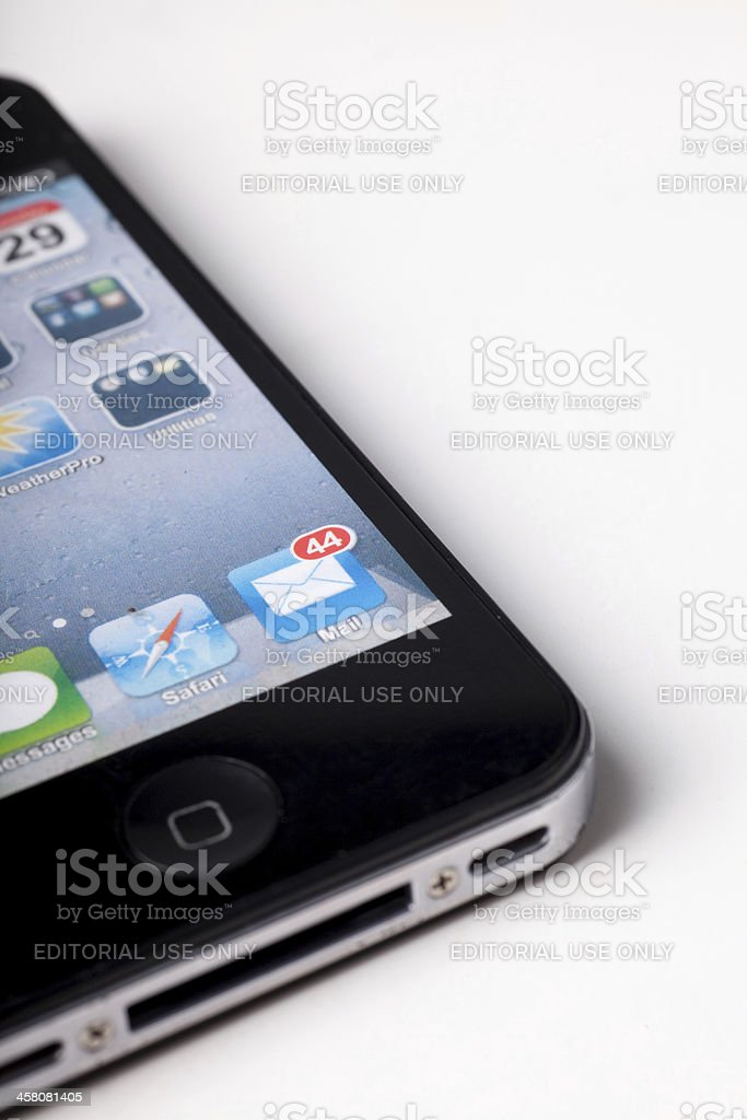 iPhone 4th generation isolated on white royalty-free stock photo