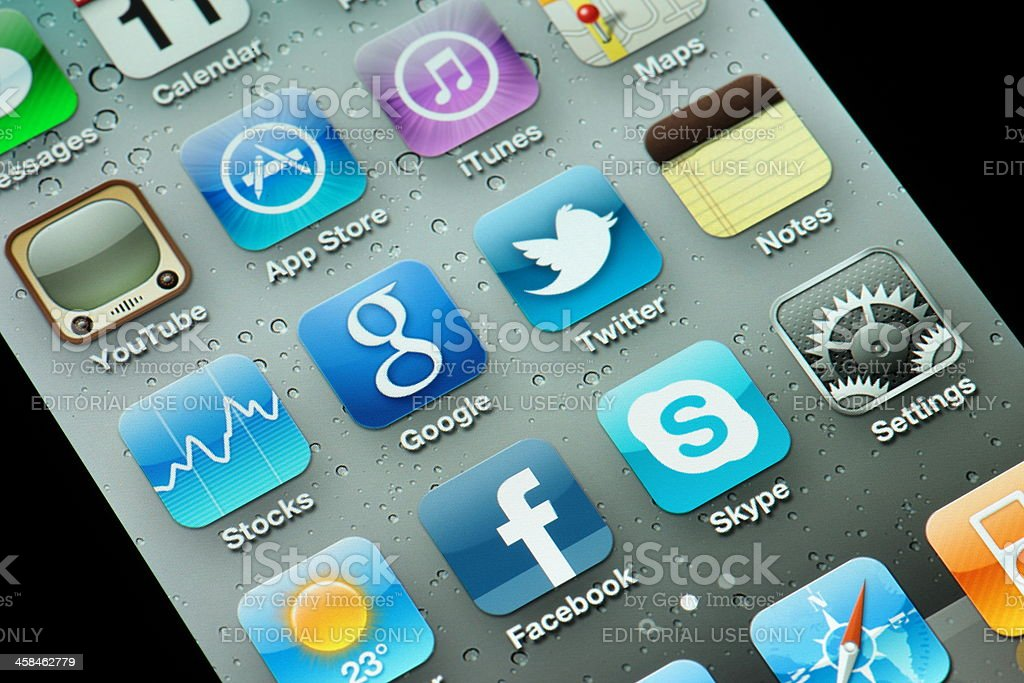 iPhone 4th generation with apps stock photo