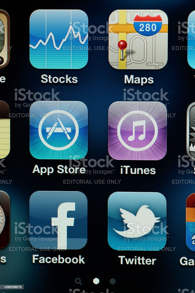 iPhone 4th generation with apps royalty-free stock photo