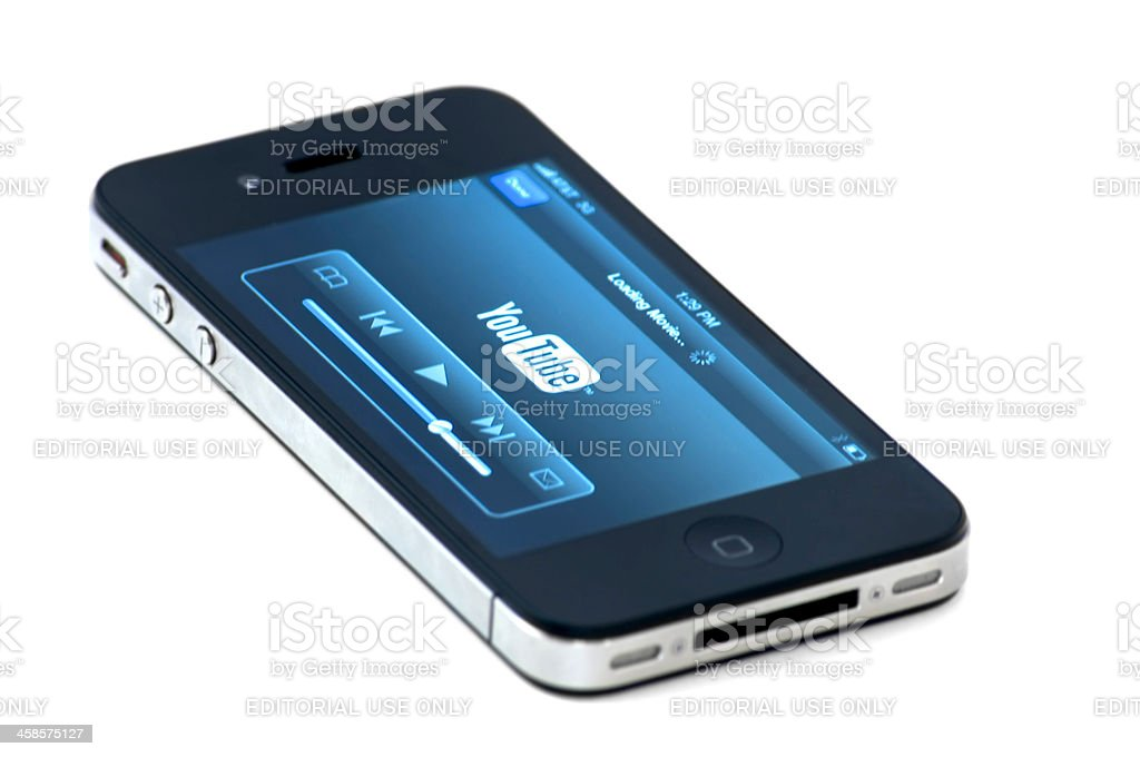 Iphone 4th with Youtube on the screen royalty-free stock photo